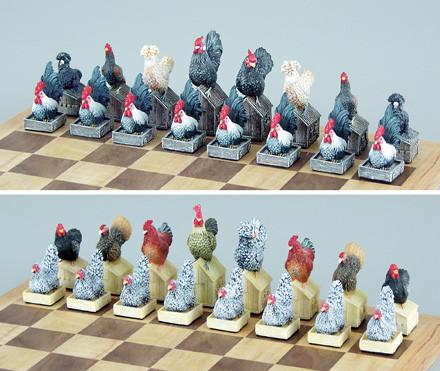 Fame 0029 Rooster and Hen Chess Set Pieces - Peazz.com
