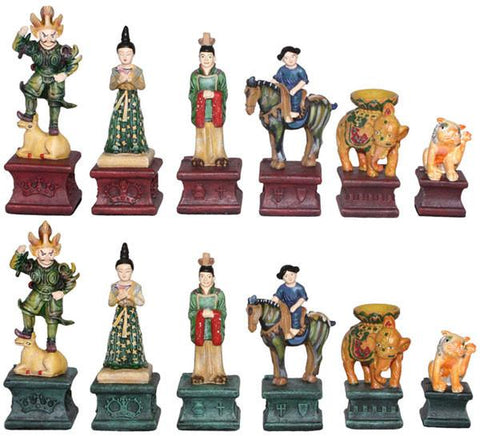 Fame 0058 Tang Dynasty Tri-colored Chess Set Pieces - Peazz.com