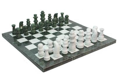 "Fame 16"" Green/White Marble Chess Set 390M - Peazz.com"