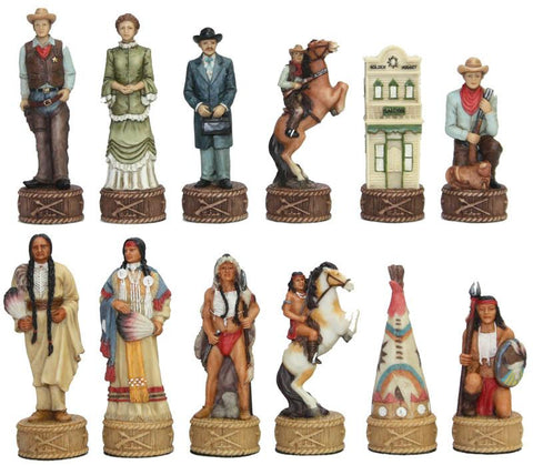 Fame 7464 Cowboys and Indians II Chessmen - Peazz.com