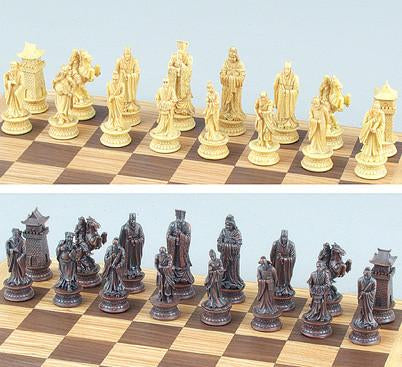 Fame 9281 Oriental Chess Set Pieces in Natural Finish - Peazz.com