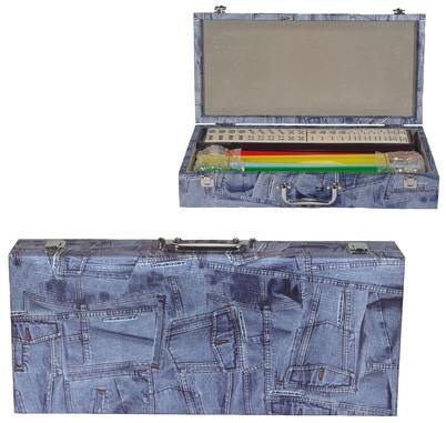 Fame J-166BP Blue Denim Patchwork Mah Jongg Set - Peazz.com