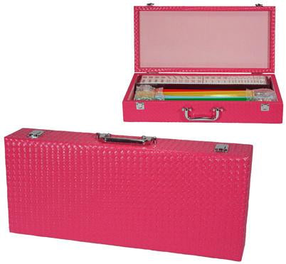 Fame J-166PB Hot Pink Basket Weave Mah Jongg Set - Peazz.com