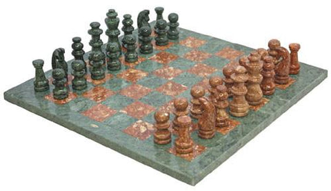 Fame Marble Chess Set- Brown/Green 393M - Peazz.com