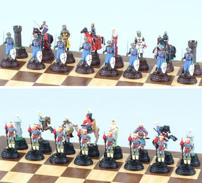 Fame SA001 Painted Metallic Crusade Chess Set Pieces - Peazz.com