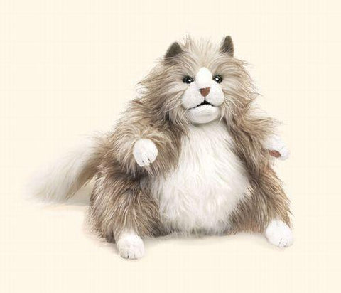 Folkmanis Cat, Fluffy Hand Puppet - 2566 - Peazz.com
