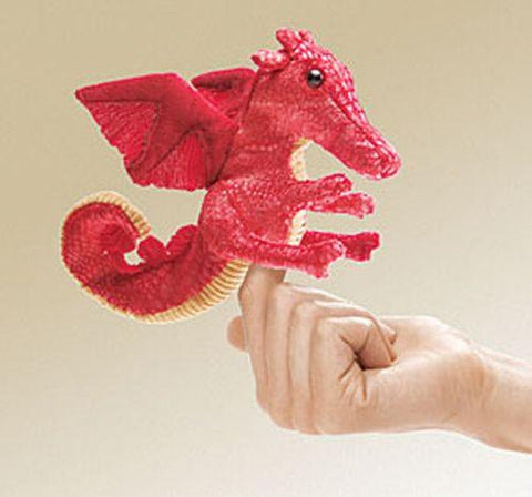 Folkmanis Mini Dragon, Red Finger Puppet - 2696 - Peazz.com