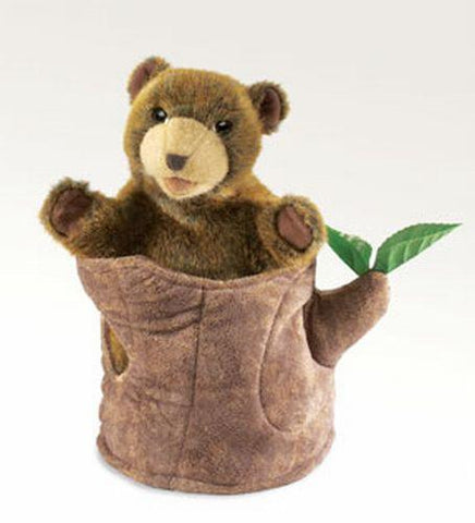 Folkmanis Bear In Tree Stump       Hand Puppet - 2904 - Peazz.com