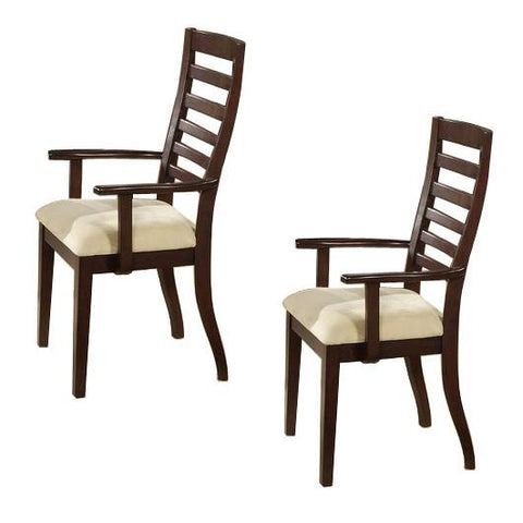Alpine 2x6533-12A Ladder Back Arm Chair Set Of 2 - Peazz.com