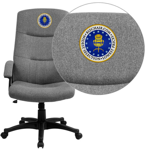 Flash Furniture BT-134A-GY-EMB-GG Embroidered High Back Gray Fabric Executive Swivel Office Chair - Peazz.com