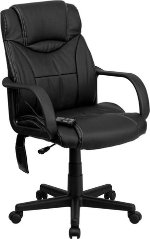 Flash Furniture BT-2690P-GG High Back Massaging Black Leather Executive Office Chair - Peazz.com