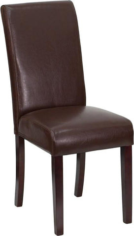 Dark Brown Leather Upholstered Parsons Chair BT-350-BRN-LEA-008-GG by Flash Furniture - Peazz.com