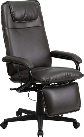 Flash Furniture BT-70172-BN-GG High Back Brown Leather Executive Reclining Office Chair - Peazz.com