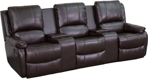 Flash Furniture BT-70295-3-BRN-GG Brown Leather Pillowtop 3-Seat Home Theater Recliner with Storage Consoles - Peazz.com