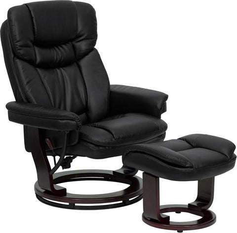 Contemporary Black Leather Recliner and Ottoman with Swiveling Mahogany Wood Base BT-7821-BK-GG by Flash Furniture - Peazz.com