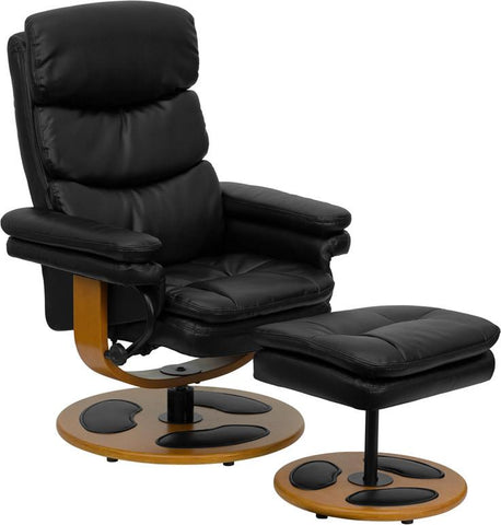Contemporary Black Leather Recliner and Ottoman with Wood Base BT-7828-PILLOW-GG by Flash Furniture - Peazz.com