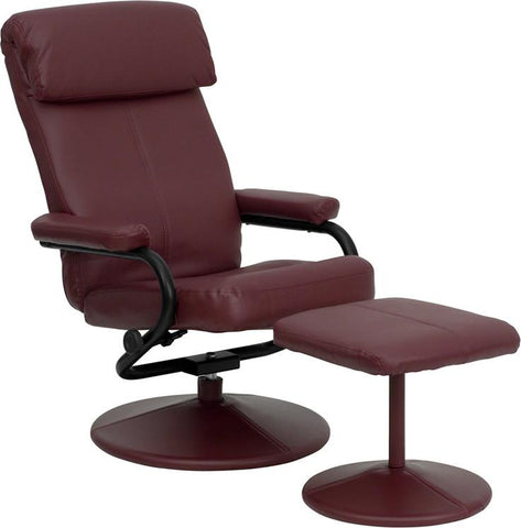 Contemporary Burgundy Leather Recliner and Ottoman with Leather Wrapped Base BT-7863-BURG-GG by Flash Furniture - Peazz.com