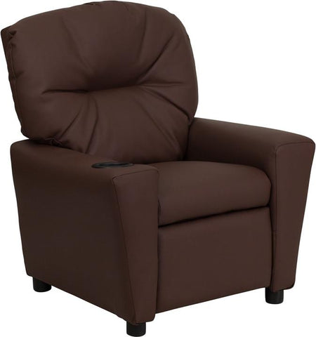 Contemporary Brown Leather Kids Recliner with Cup Holder BT-7950-KID-BRN-LEA-GG by Flash Furniture - Peazz.com