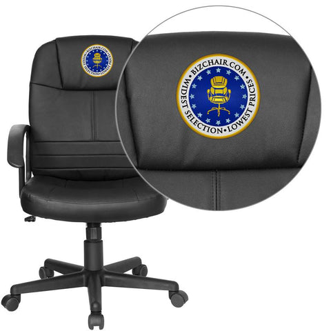 Flash Furniture BT-8075-BK-EMB-GG Embroidered Mid-Back Black Leather Executive Swivel Office Chair - Peazz.com