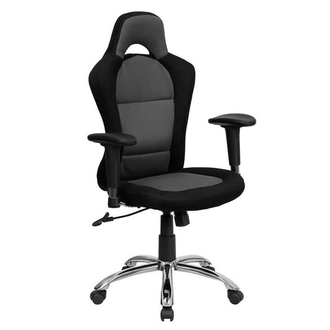 Race Car Inspired Bucket Seat Office Chair in Gray & Black Mesh BT-9015-GYBK-GG by Flash Furniture - Peazz.com