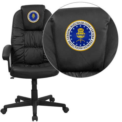 Flash Furniture BT-983-BK-EMB-GG Embroidered High Back Black Leather Executive Swivel Office Chair - Peazz.com