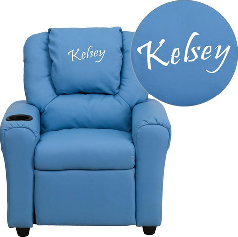 Flash Furniture DG-ULT-KID-LTBLUE-EMB-GG Personalized Light Blue Vinyl Kids Recliner with Cup Holder and Headrest - Peazz.com