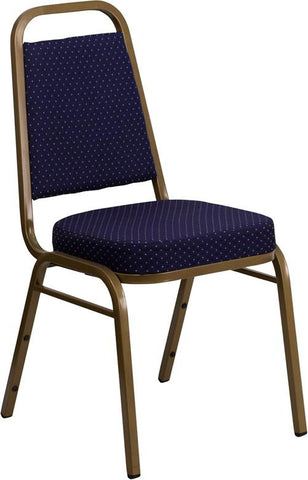 HERCULES Series Trapezoidal Back Stacking Banquet Chair with Navy Patterned Fabric and 2.5'' Thick Seat - Gold Frame FD-BHF-1-ALLGOLD-0849-NVY-GG by Flash Furniture - Peazz.com
