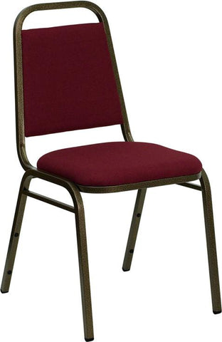 HERCULES Series Trapezoidal Back Stacking Banquet Chair with Burgundy Fabric and 1.5'' Thick Seat - Gold Vein Frame FD-BHF-2-BY-GG by Flash Furniture - Peazz.com