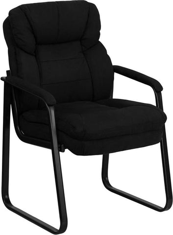 Black Microfiber Executive Side Chair with Sled Base GO-1156-BK-GG by Flash Furniture - Peazz.com