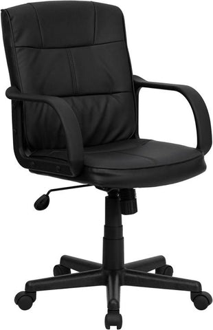 Mid-Back Black Leather Office Chair with Nylon Arms GO-228S-BK-LEA-GG by Flash Furniture - Peazz.com