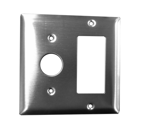 Amba Products AJ-DGP-S Jeeves Double Gang Plate - Stainless Steel - Peazz.com