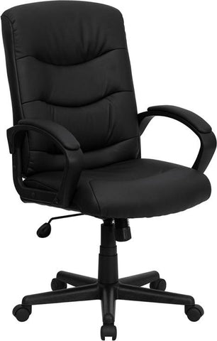 Mid-Back Black Leather Office Chair GO-977-1-BK-LEA-GG by Flash Furniture - Peazz.com