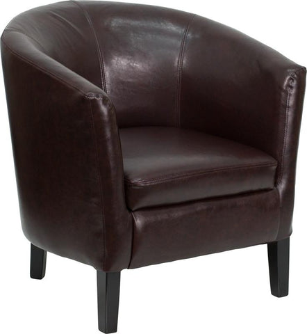 Brown Leather Barrel Shaped Guest Chair GO-S-11-BN-BARREL-GG by Flash Furniture - Peazz.com