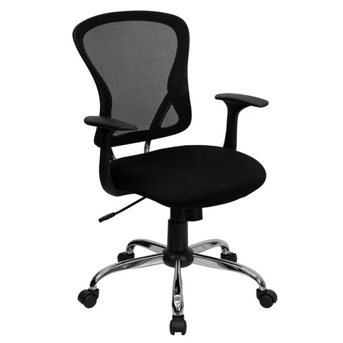 Mid-Back Black Mesh Office Chair with Chrome Finished Base H-8369F-BLK-GG by Flash Furniture - Peazz.com