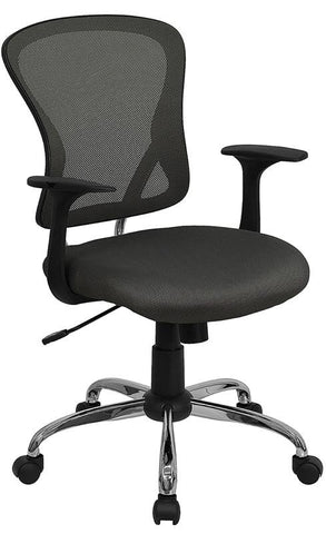 Mid-Back Dark Gray Mesh Office Chair with Chrome Finished Base H-8369F-DK-GY-GG by Flash Furniture - Peazz.com