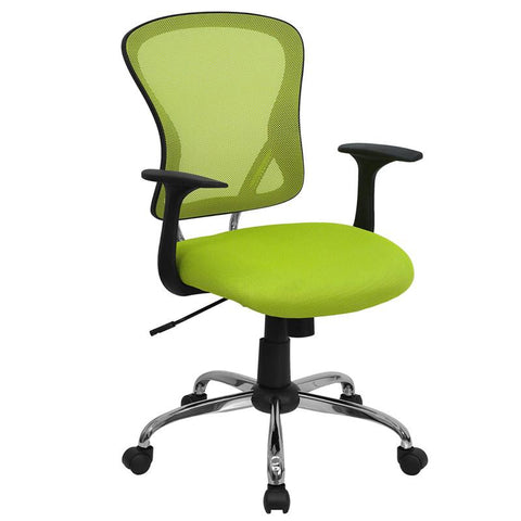 Mid-Back Green Mesh Office Chair with Chrome Finished Base H-8369F-GN-GG by Flash Furniture - Peazz.com