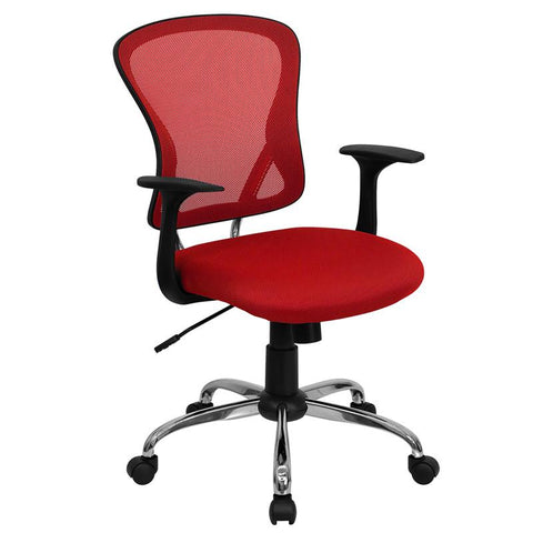 Mid-Back Red Mesh Office Chair with Chrome Finished Base H-8369F-RED-GG by Flash Furniture - Peazz.com