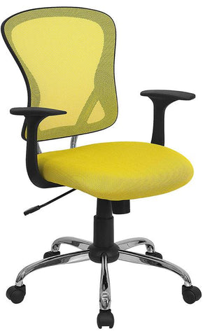 Mid-Back Yellow Mesh Office Chair with Chrome Finished Base H-8369F-YEL-GG by Flash Furniture - Peazz.com