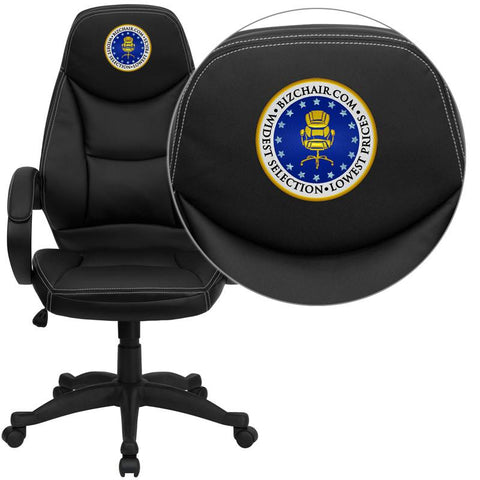 Flash Furniture H-HLC-0005-HIGH-1B-EMB-GG Embroidered High Back Black Leather Contemporary Office Chair - Peazz.com