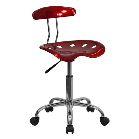 Vibrant Wine Red and Chrome Computer Task Chair with Tractor Seat LF-214-WINERED-GG by Flash Furniture - Peazz.com