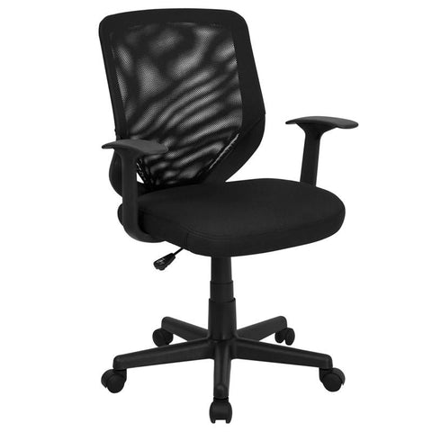 Mid-Back Black Mesh Office Chair with Mesh Fabric Seat LF-W-95A-BK-GG by Flash Furniture - Peazz.com