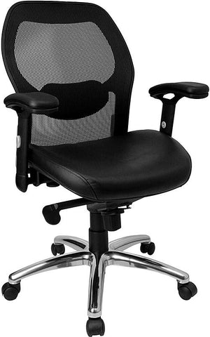 Mid-Back Super Mesh Office Chair with Black Italian Leather Seat and Knee Tilt Control LF-W42-L-GG by Flash Furniture - Peazz.com