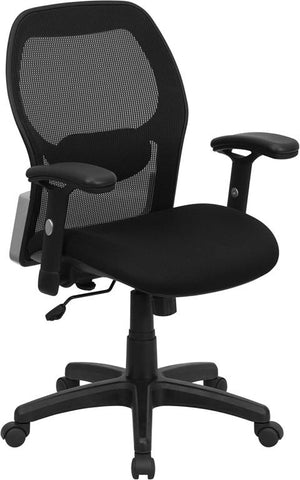 Mid-Back Super Mesh Office Chair with Black Fabric Seat LF-W42B-GG by Flash Furniture - Peazz.com