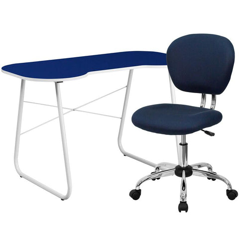 Flash Furniture NAN-11-GG Navy Computer Desk and Mesh Chair - Peazz.com