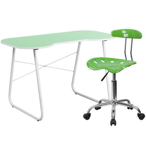 Flash Furniture NAN-12LF-GG Green Computer Desk and Tractor Chair - Peazz.com