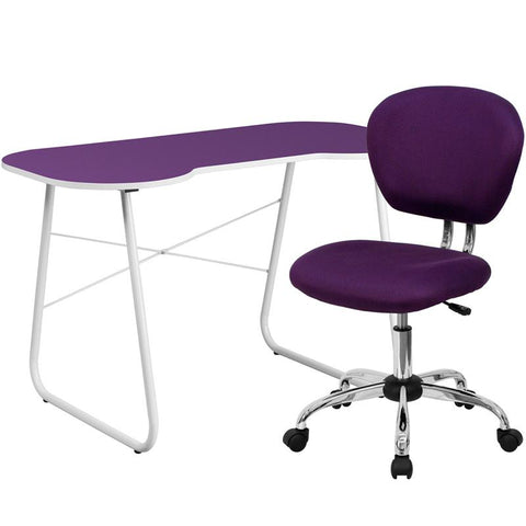 Flash Furniture NAN-13-GG Purple Computer Desk and Mesh Chair - Peazz.com