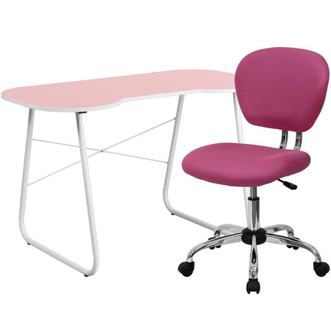 Flash Furniture NAN-15-GG Pink Computer Desk and Mesh Chair - Peazz.com