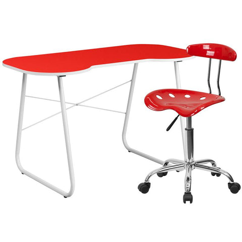 Flash Furniture NAN-16LF-GG Red Computer Desk and Tractor Chair - Peazz.com