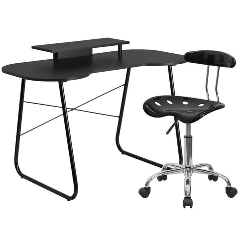 Flash Furniture NAN-1LF-GG Black Computer Desk with Monitor Stand and Tractor Chair - Peazz.com