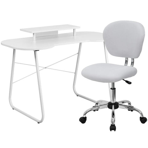 Flash Furniture NAN-2-GG White Computer Desk with Monitor Stand and Mesh Chair - Peazz.com